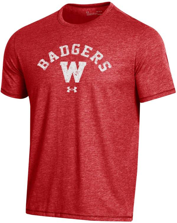 Under Armour Men's Wisconsin Badgers Red Bi-Blend Performance T-Shirt product image