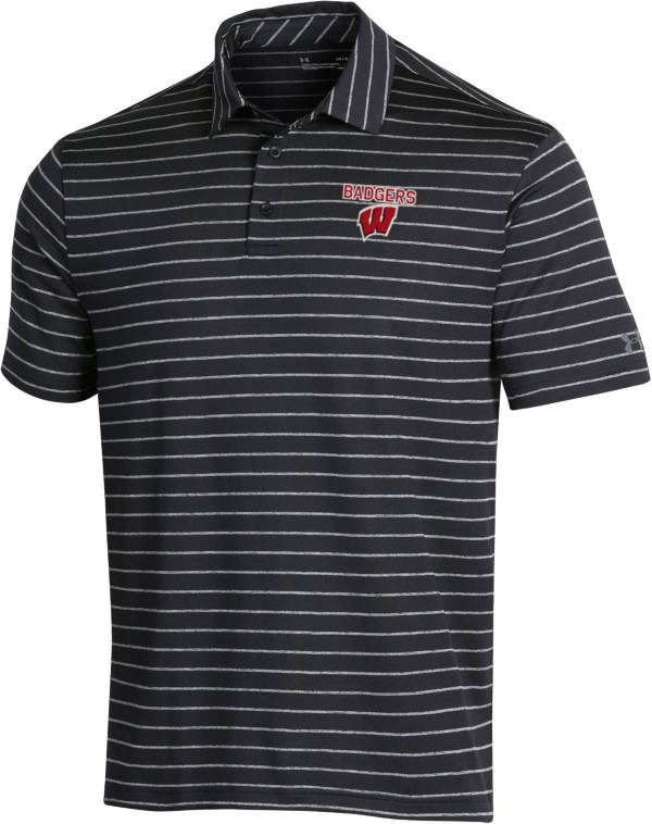 Under Armour Men's Wisconsin Badgers Playoff Tour Striped Performance Black Polo product image