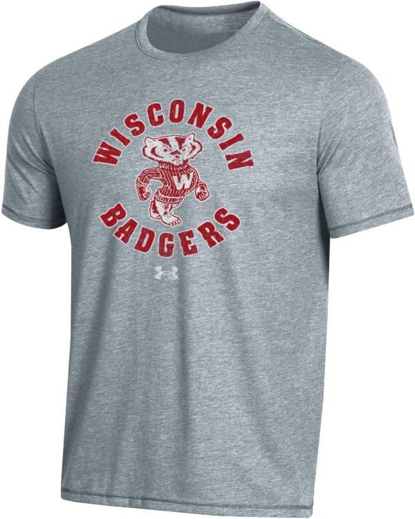 Under Armour Men's Wisconsin Badgers Grey Bi-Blend Performance T-Shirt product image