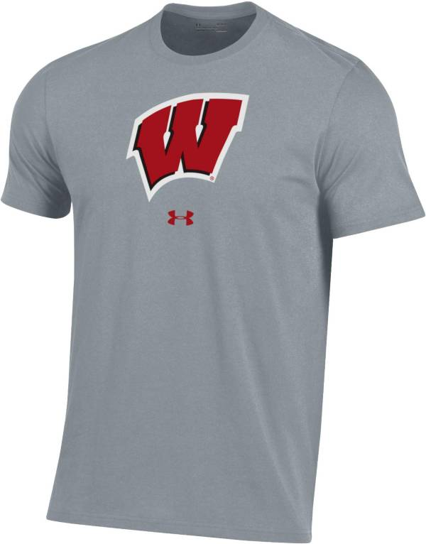 Under Armour Men's Wisconsin Badgers Grey Performance Cotton T-Shirt product image