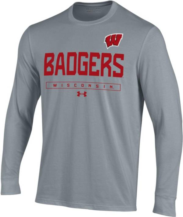 Under Armour Men's Wisconsin Badgers Grey Performance Cotton Long Sleeve T-Shirt product image