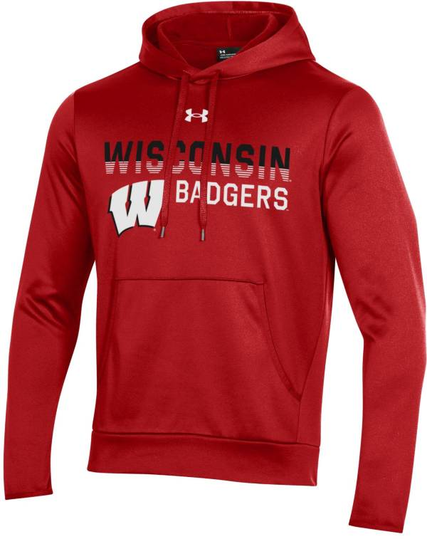 Under Armour Men's Wisconsin Badgers Red Armour Fleece Pullover Performance Hoodie product image