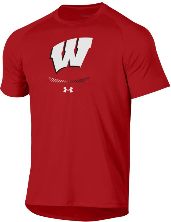 Under Armour Men's Wisconsin Badgers Red Tech Performance T-Shirt product image