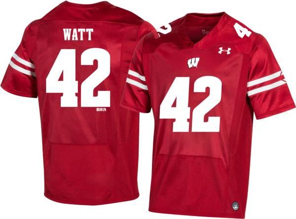 Under Armour Men's T.J. Watt Wisconsin Badgers #42 Red Replica Football Jersey product image