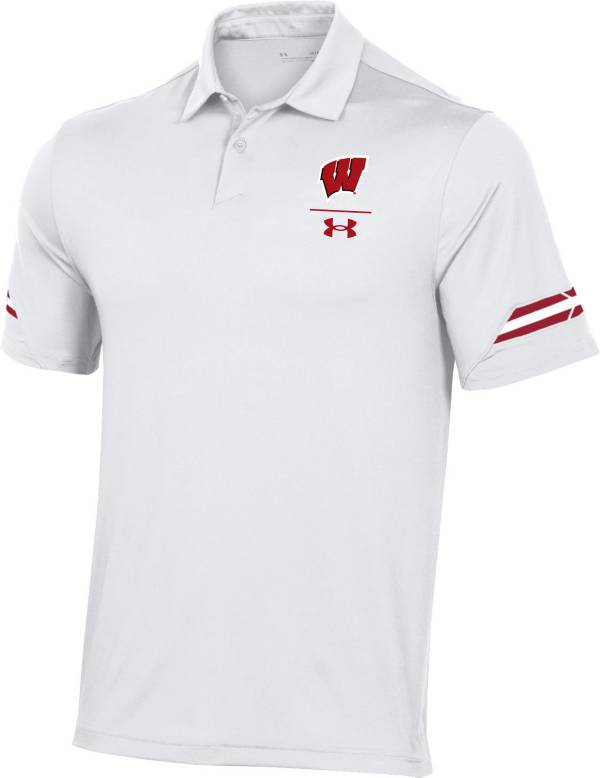 Under Armour Men's Wisconsin Badgers Coaches Sideline White Polo product image