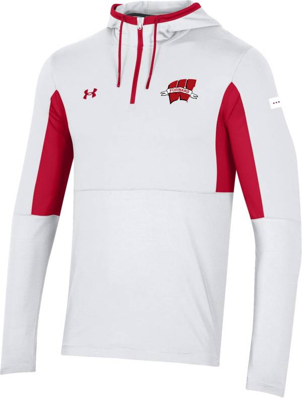 Under Armour Men's Wisconsin Badgers Red 'Forward' Hooded Quarter-Zip Pullover Shirt product image