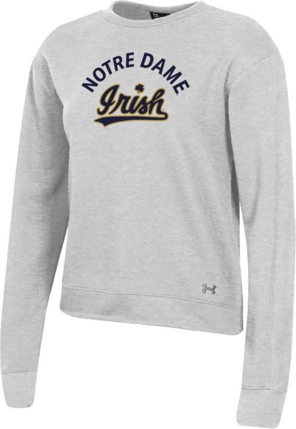 Under Armour Women's Notre Dame Fighting Irish Grey All Day Fleece Crew-Neck Sweatshirt product image
