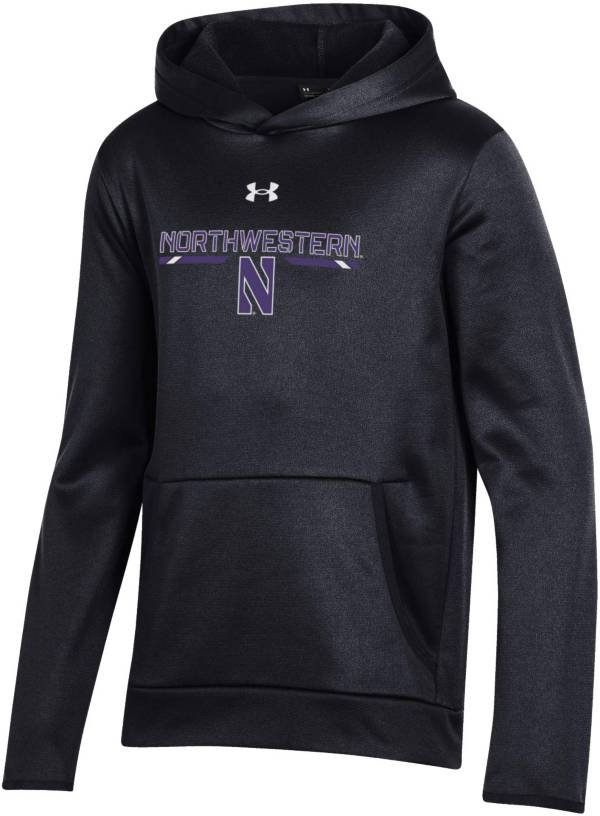 Under Armour Youth Northwestern Wildcats Armour Fleece Pullover Performance Black Hoodie product image