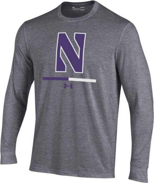 Under Armour Youth Northwestern Wildcats Grey Charged Cotton Long Sleeve Performance T-Shirt product image