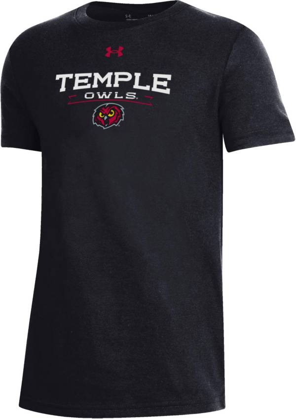 Under Armour Youth Temple Owls Black Performance Cotton T-Shirt product image