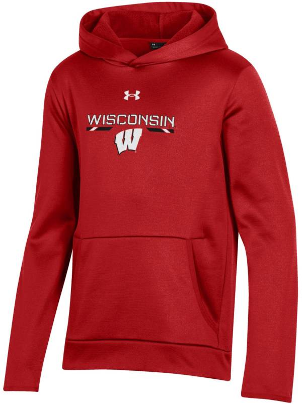 Under Armour Youth Wisconsin Badgers Red Armour Fleece Pullover Performance Hoodie product image
