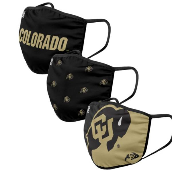 FOCO Adult Colorado Buffaloes 3-Pack Facemasks product image
