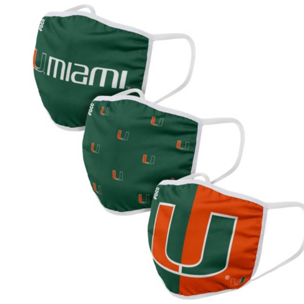 FOCO Adult Miami Hurricanes 3-Pack Face Coverings product image