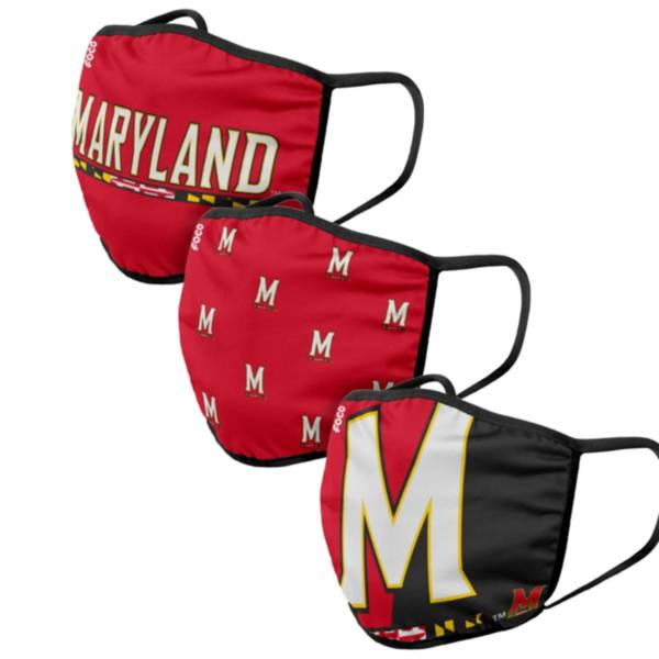 FOCO Adult Maryland Terrapins 3-Pack Face Masks product image