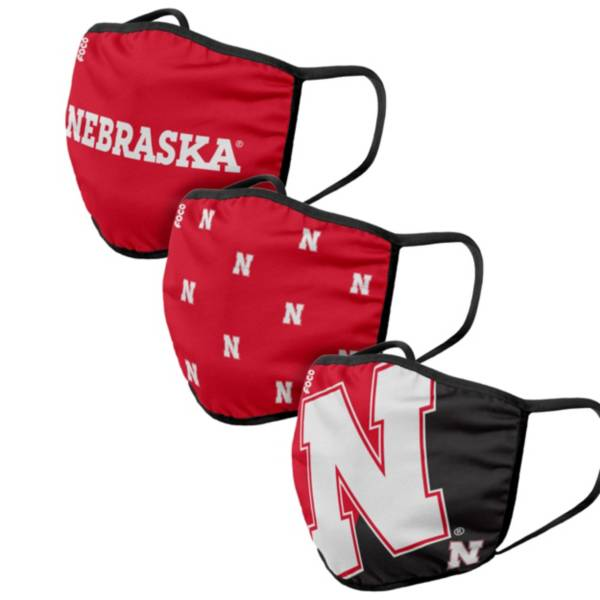 FOCO Adult Nebraska Cornhuskers 3-Pack Face Coverings product image