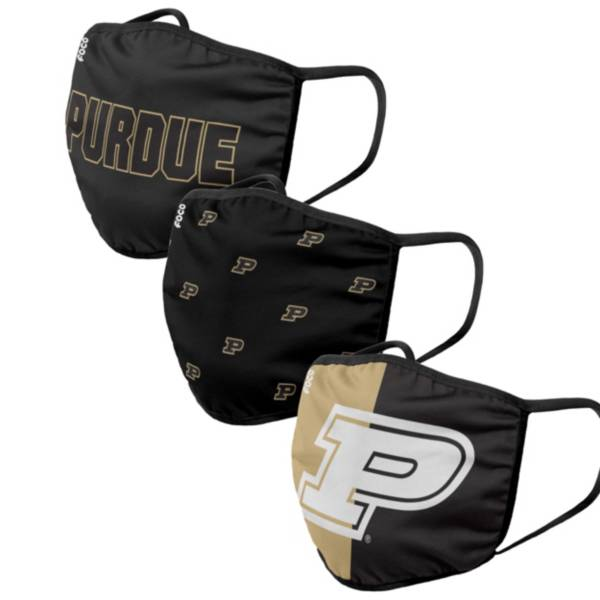 FOCO Adult Purdue Boilermakers 3-Pack Face Masks product image
