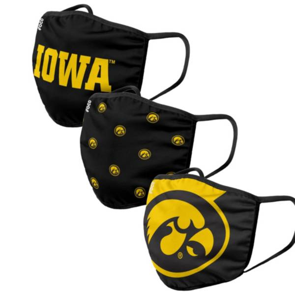 FOCO Adult Iowa Hawkeyes 3-Pack Face Masks product image