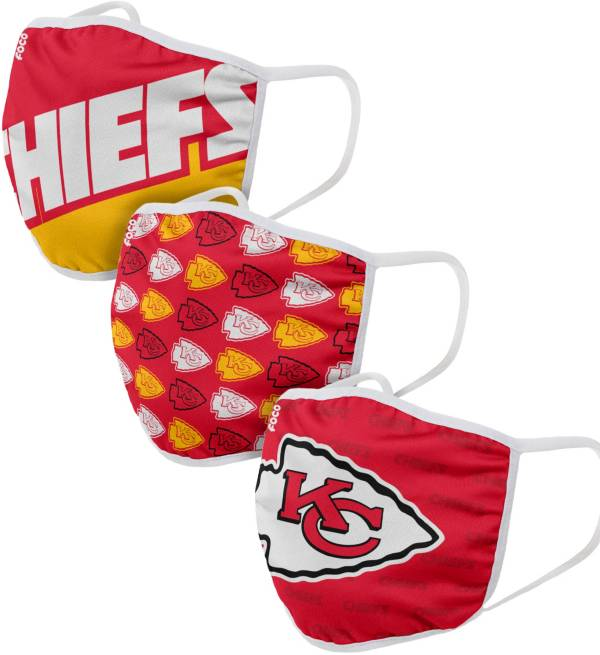 FOCO Adult Kansas City Chiefs 3-Pack Face Masks product image