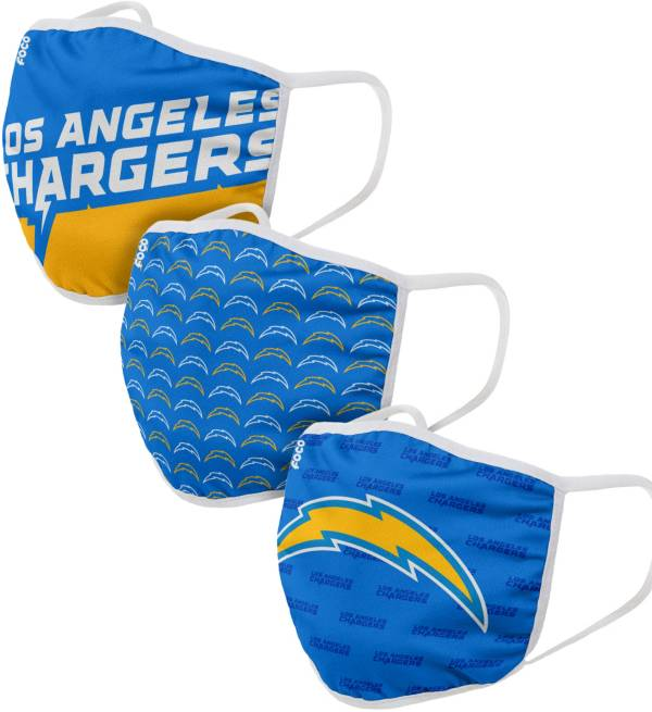 FOCO Adult Los Angeles Chargers 3-Pack Face Coverings product image