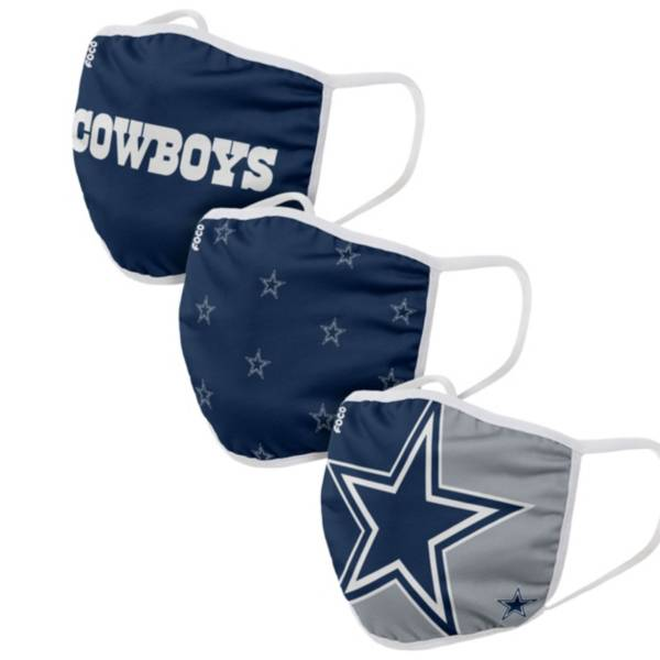 FOCO Adult Dallas Cowboys 3-Pack Face Masks product image