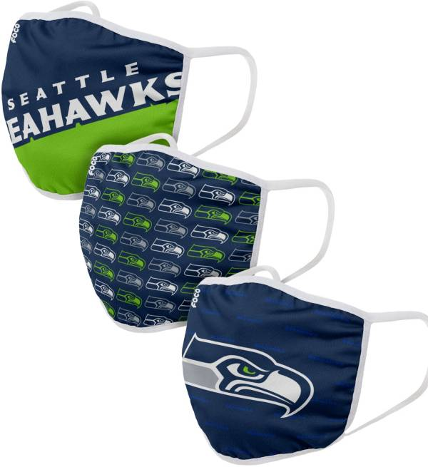 FOCO Adult Seattle Seahawks 3-Pack Face Masks product image