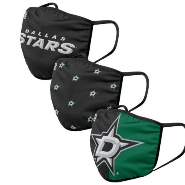 FOCO Adult Dallas Stars 3-Pack Face Coverings product image