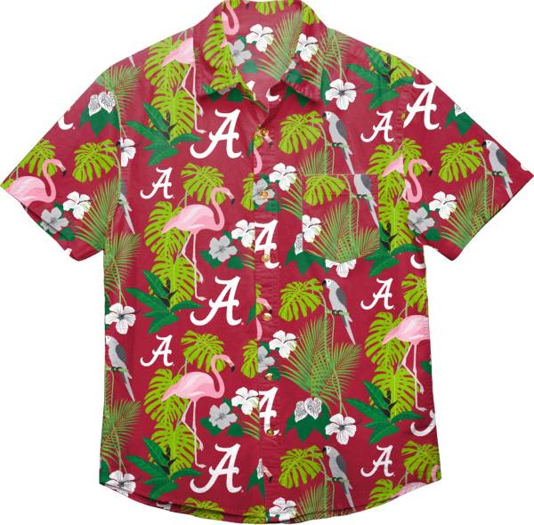 FOCO Men's Alabama Crimson Tide Floral Short Sleeve Button Down Shirt product image