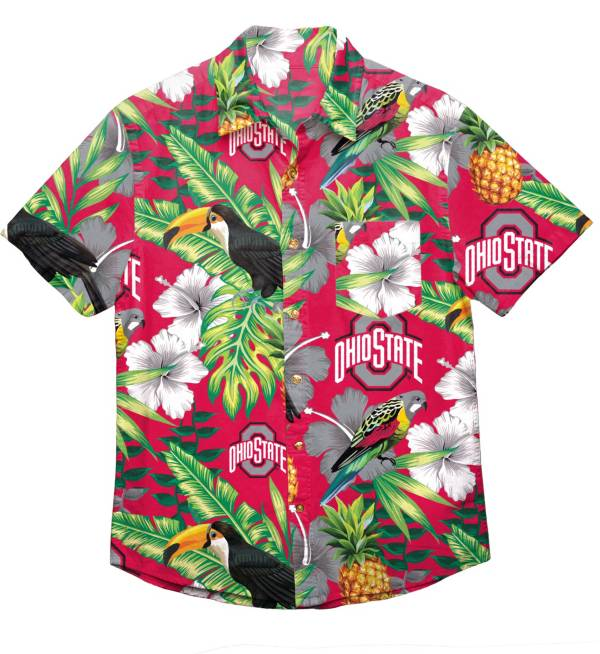 FOCO Men's Ohio State Buckeyes Floral Short Sleeve Button Down Shirt product image