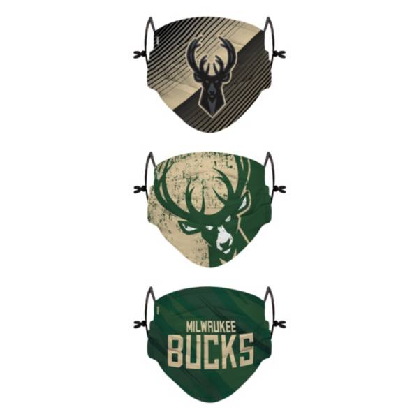 FOCO Youth Milwaukee Bucks 3-Pack Face Coverings product image