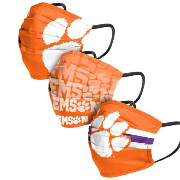 FOCO Adult Clemson Tigers 3-Pack Matchday Face Coverings product image