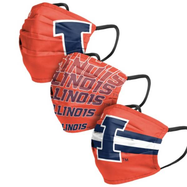 FOCO Adult Illinois Fighting Illini 3-Pack Matchday Face Coverings product image