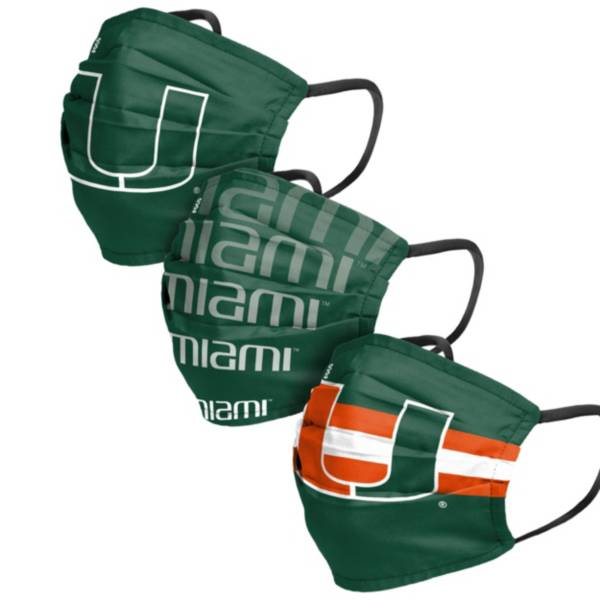 FOCO Adult Miami Hurricanes 3-Pack Matchday Face Coverings product image