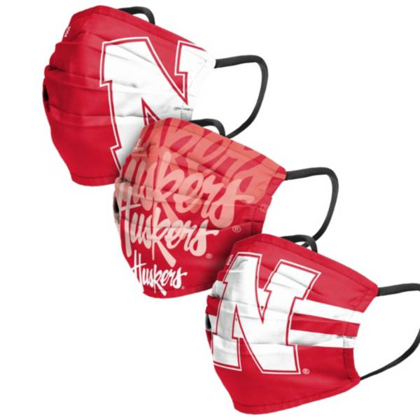 FOCO Adult Nebraska Cornhuskers 3-Pack Matchday Face Coverings product image