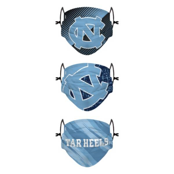 FOCO Youth North Carolina Tar Heels 3-Pack Face Coverings product image