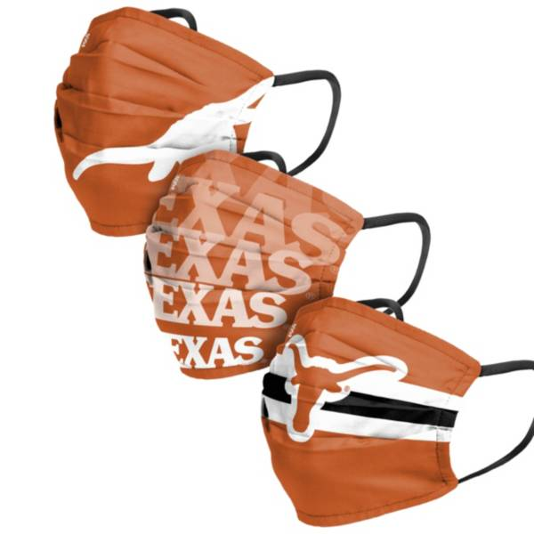 FOCO Adult Texas Longhorns 3-Pack Matchday Face Coverings product image