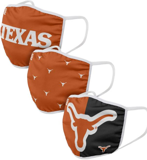 FOCO Youth Texas Longhorns 3-Pack Face Coverings product image