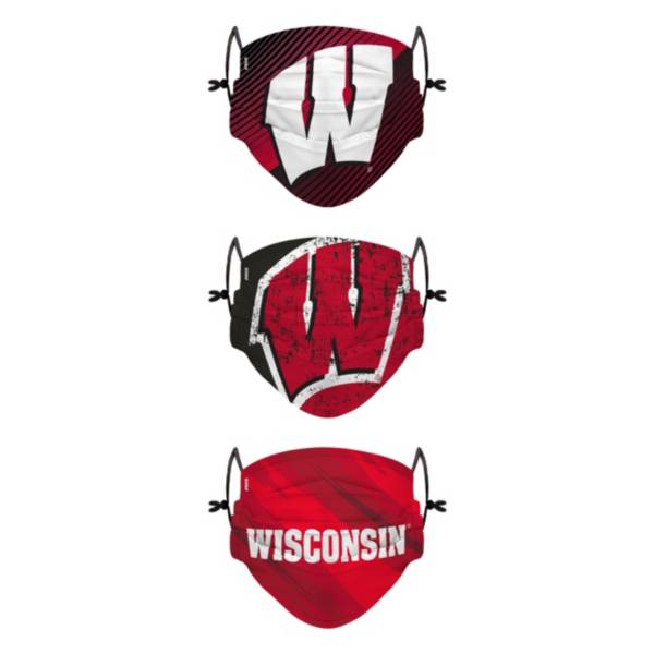 FOCO Youth Wisconsin Badgers 3-Pack Face Coverings product image