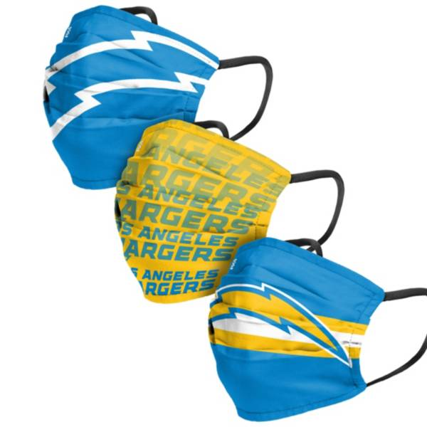 FOCO Adult Los Angeles Chargers Adjustable 3-Pack Face Coverings product image