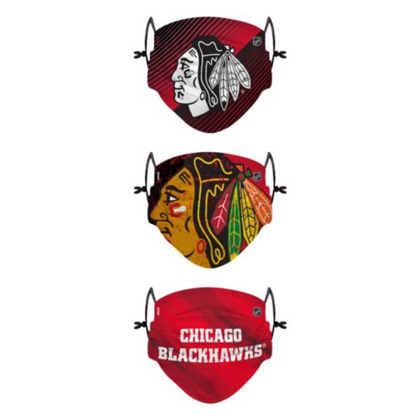 FOCO Youth Chicago Blackhawks Adjustable 3-Pack Face Coverings product image