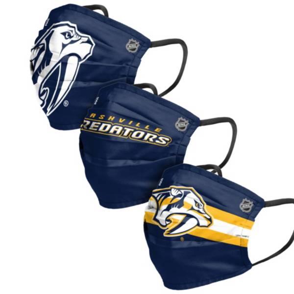 FOCO Adult Nashville Predators Adjustable 3-Pack Face Coverings product image