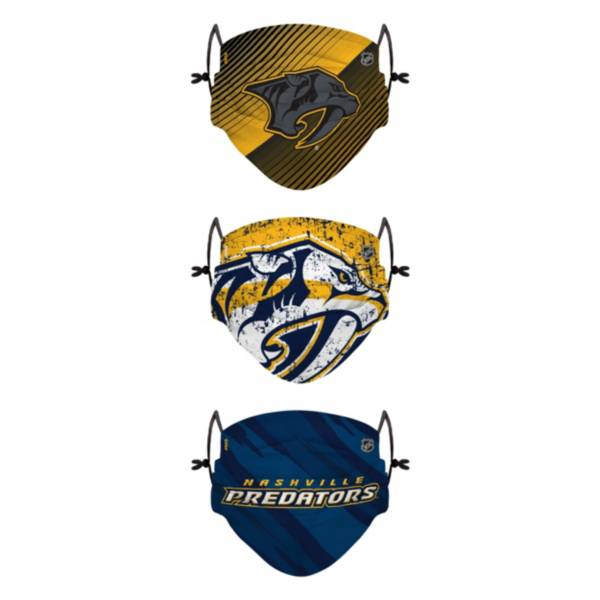 FOCO Youth Nashville Predators Adjustable 3-Pack Face Coverings product image