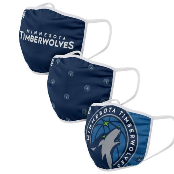 FOCO Youth Minnesota Timberwolves 3-Pack Face Masks product image