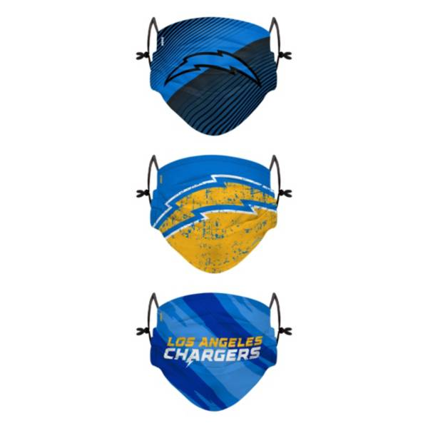 FOCO Youth Los Angeles Chargers Adjustable 3-Pack Face Coverings product image