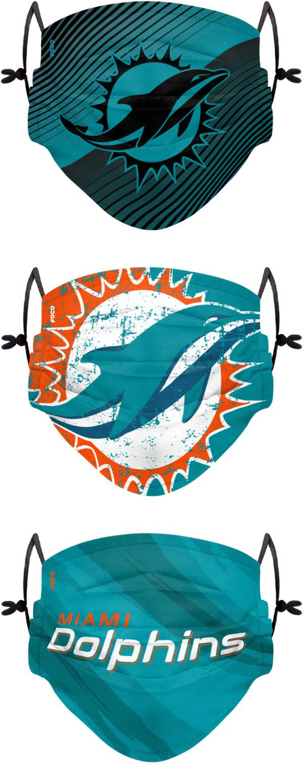 FOCO Youth Miami Dolphins Adjustable 3-Pack Face Coverings product image