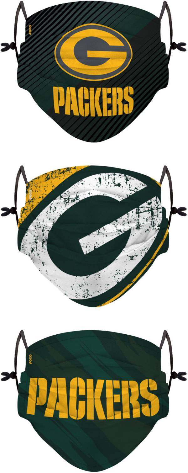 FOCO Youth Green Bay Packers Adjustable 3-Pack Face Coverings product image