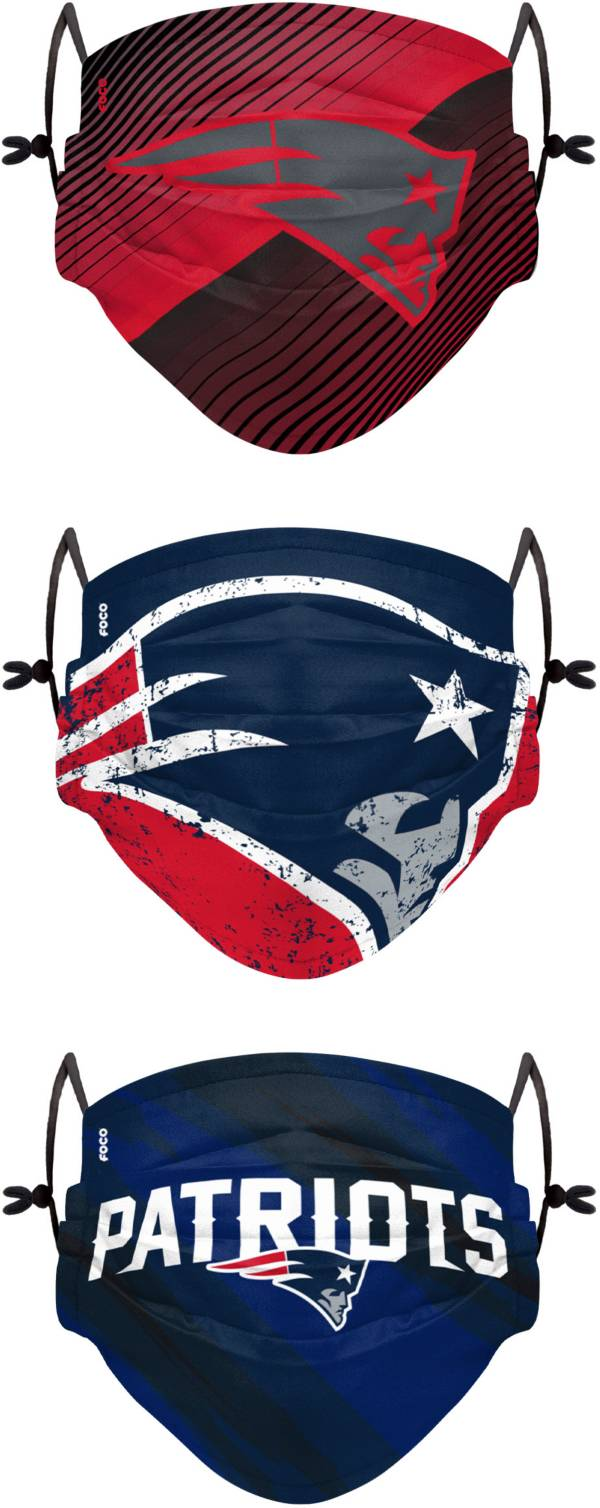 FOCO Youth New England Patriots Adjustable 3-Pack Face Coverings product image