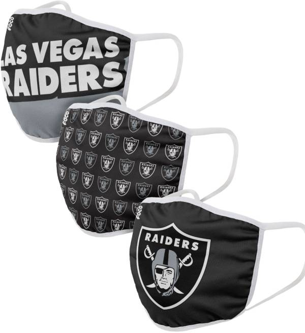 FOCO Youth Las Vegas Raiders 3-Pack Face Masks product image