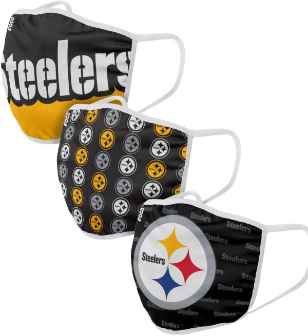 FOCO Youth Pittsburgh Steelers 3-Pack Face Masks product image