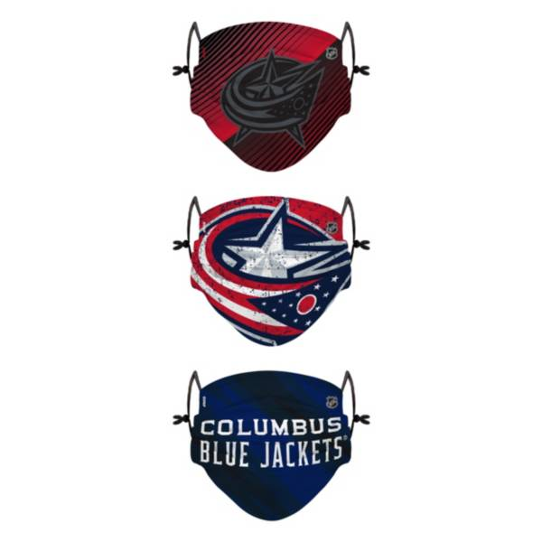 FOCO Youth Columbus Blue Jackets Adjustable 3-Pack Face Coverings product image