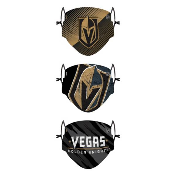 FOCO Youth Vegas Golden Knights Adjustable 3-Pack Face Coverings product image